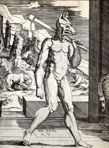 """""""Le Roi Lycaon changé en loup par Zeus"""", gravure du XVIe siècle"""