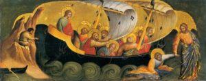"""Lorenzo Veneziano : """"Le Christ sauvant l'apôtre Pierre de la noyade"""" 1370"""